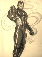 Iron-Man (b/w) by D-Architect