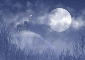 Elephant and Moon by AlexiaDeath