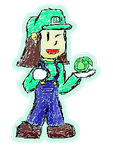 Riley cosplaying as Luigi by Mandew
