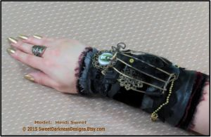 Gothic Wrist Corset Black Leather 3D Raven Poe by SweetDarknessDesigns