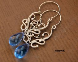 Earrings fine silver with topaz by honeypunk