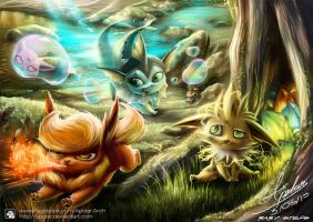 BABY STEPS ( EEVEE FAMILY ) by Apolar