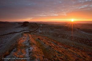 Sunrise over Hadrian's wall by GMCPhotographics