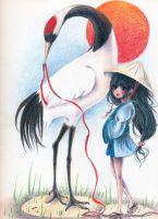 Red Crowned Crane and Girl by xxswanfeather