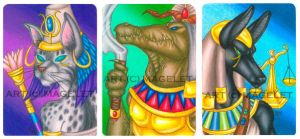Egyptian Mythology ACEO Set 1 by Magelet