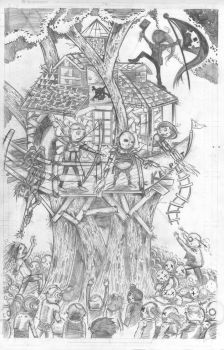 Zombie Squad Cover rough pencils by JamesWhynotInks