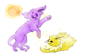 Day Four Espeon and Jolteon by Caution-Koneko