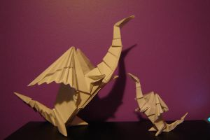 Origami Dragons by c1a2t345