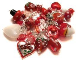 Red + white charm bracelet by fairy-cakes