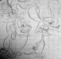 Stimpy and Ren drawn from memory by Nutty-Nutzis