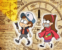 Mabel and Dipper Searching for Clues by BizarreAdventures