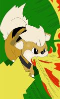 Growlithe: Flamethrower by amaroq247