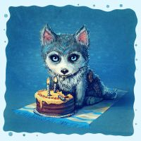 Birthday card - Little Wolf by mary-petroff