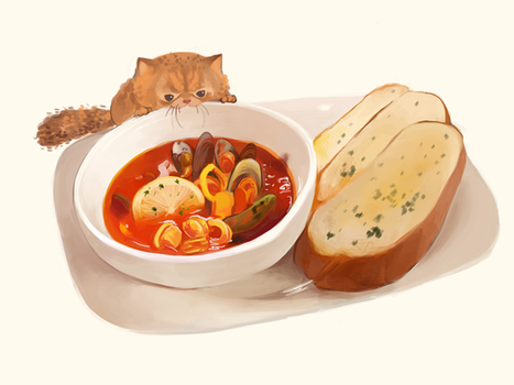 Tiger the Cat and a soup by asyuumi