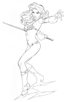 Red Sonja lines - Comicon by RandyGreen