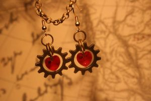Mechanics of Love Earrings by turnerstokens