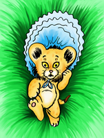 Baby lion with bonnet by LE0PATRA