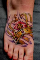 Crown on foot tattoo by mattymctatty