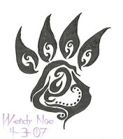 Tribal Paw Print by InsanitysBlessing