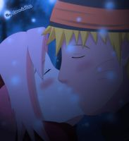NaruSaku Snow Kiss by Camidlss