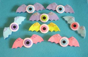 Bat Wings Eyeballs Pastel Goth Fairy Kei by OkashiBurochi