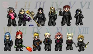 KH: Organization XIII Chibis by CrimsonskyR