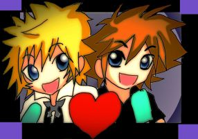 Roxas and  Sora for lordirules by KawaiiDarkAngel