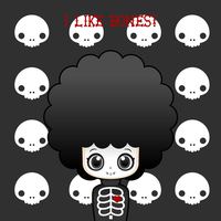 Skeleton afro girl by to-much-a-thing