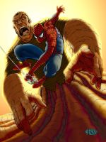 Spiderman vs. Sandman by RossHughes