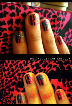 Nail Art: Pink black flower by meiiyu