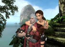 Dante X Lara Croft 108 by candycanecroft