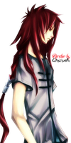 Anime Boy With Red Long Hair Render by Amanveth