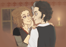Sweeney Todd and Mrs. Lovett by hathound