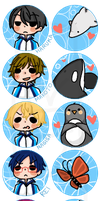 Free! Iwatobi Swim Club Buttons by Mg3-Kiryu