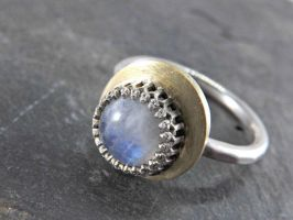 Crescent Moon Ring With Moonstone Gem by Siihraya