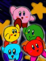 Colorful Kirbies by LuckyGreen7