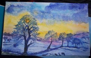 Wintery Scene - Watercolours by Kaikoura