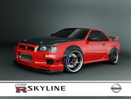 nissan skyline GTR R34 red-1 by 3dmanipulasi