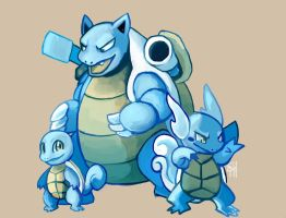 Day 03 - Squirtle, Wartortle, Blastoise by SpaceSmilodon