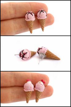 Strawberry Ice Cream Post Earrings by Maca-mau
