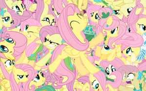 Fluttershy explosion wallpaper by Starlyk