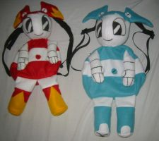 Jenny and fire Jenny backpacks by Neon-Juma