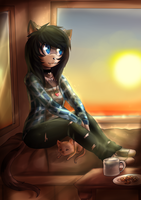 AT: Looking at the sunset by TamaratheT