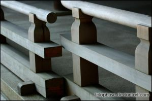 Railings at the Meiji Shrine by telophase