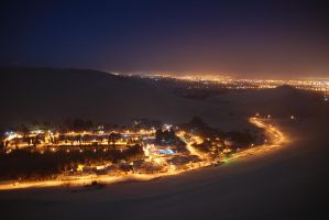 Huacachina Oasis in night by Microkey