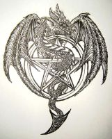 Dragon + Pentagram Design by Crash0and8Burn