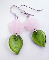 Pink Flower and Green Leaf Glass Bead Earrings by FaerieForgeDesign