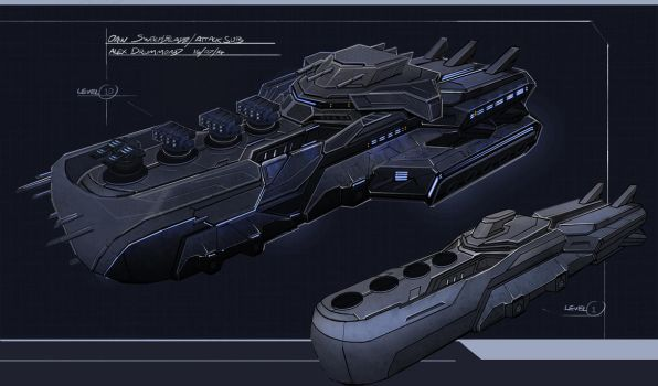Attack Sub concept : Alex Drummond by alexdrummo