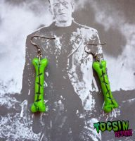 THE MONSTER's BONES - FRANKENSTEIN/ZOMBIE EARRINGS by TocsinDesigns