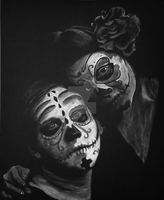 Dragonfly and butterfly sugar skull love by Fullmoon-rose